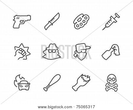 Outline Crime Icons