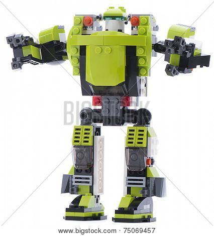 Ankara, Turkey - November 23, 2013: Lego Creator Power Mech futuristic battle robot with moving arms, grabbing claws and leg-mounted boosters isolated on white background.