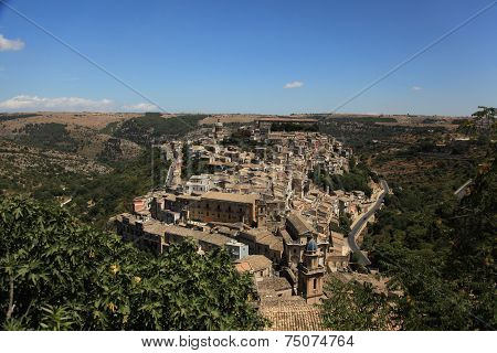 Panoramic topside view to the Ragusa town in Sicily