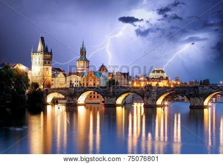 Prague Bridge At Storm
