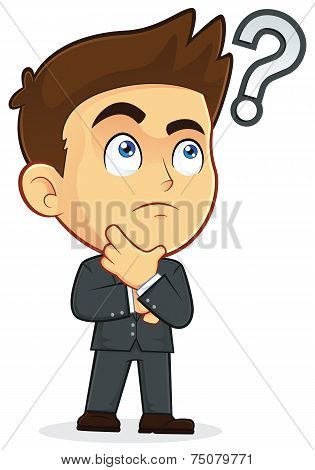Businessman Touching Chin with Question Mark
