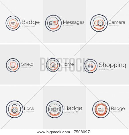 Thin line neat design logo colle?tion - 9 clean modern icons and stamps
