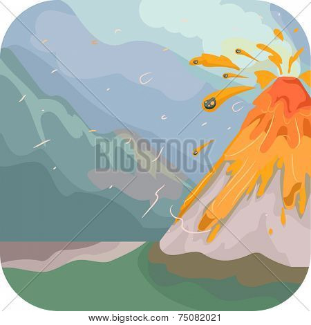 Illustration Featuring an Erupting Volcano