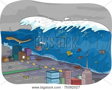 Illustration Featuring a Tsunami Engulfing a City