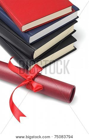 Stack Of Text Books And Scroll Container On White Background