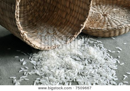 Empty basket and rice