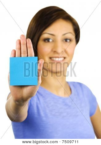 Young Woman Has A Sticky Note Stuck On Her Hand.