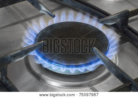 gas burner burns with a blue flame poster