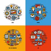 Flat line icons set of SEO SMM UI and UX design HR. Creative design elements for websites mobile apps and printed materials poster