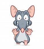 Vector clipart picture of a running scared rat poster