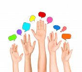 Group of Diverse Multi Ethnic Hands Reaching for Speech Bubbles poster