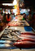 Exotic traditional seafood market on Boracay island in Philippines poster