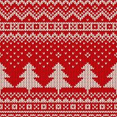 Seamless pattern ornament on the wool knitted texture vector poster