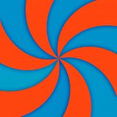 Orange and turquoise spiral movement abstract background poster