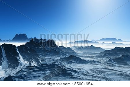 3D render of a surreal landscape with snowy mountains