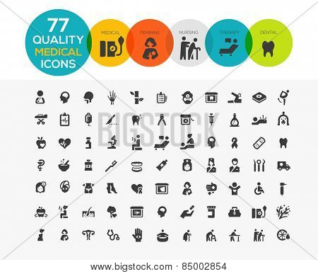 High Quality Medical Icons including: spa, elder care, feminine health care, dental etc..
