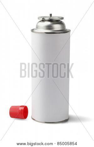 Butane Gas Cartridge For Portable Cooker On White Background