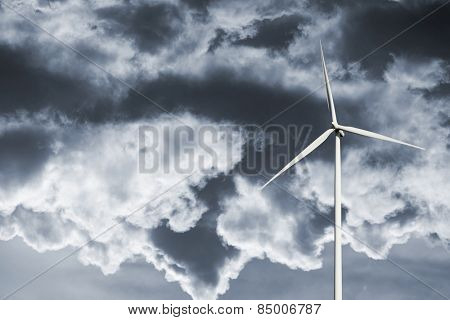 wind power plant and story clouds