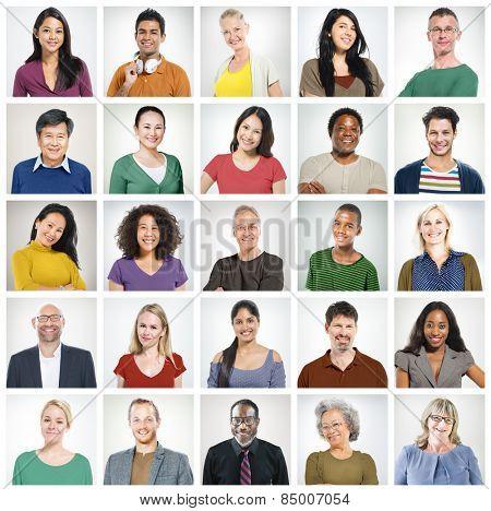 Human Face Set of Faces Collection Diversity Concept