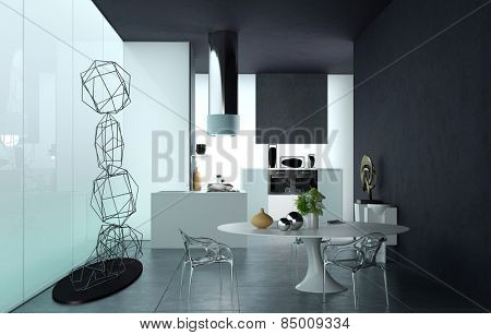 Luxury black and white living area interior with a modern wire sculpture table, cabinets and chairs in a room with bold design using contrasts. 3d Rendering.