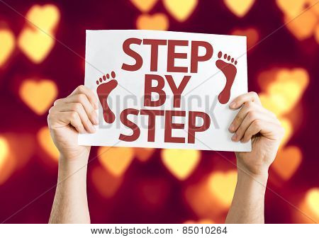 Step By Step card with heart bokeh background