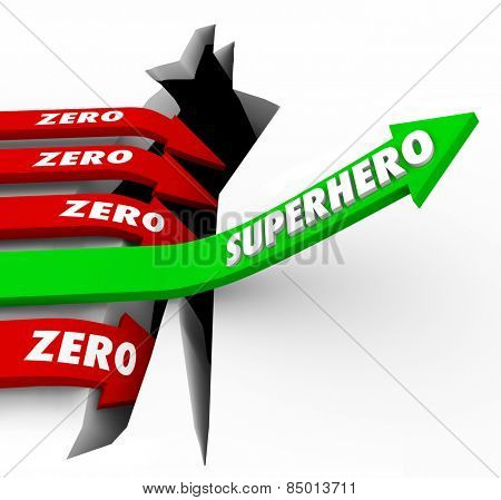 Superhero word on a green arrow rising above opposite Zero arrows falling to illustrate one who is top performer or best at work in getting jobs or tasks done with great results