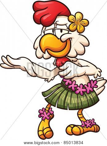 Hawaiian chicken dancing. Vector clip art illustration with simple gradients. All in a single layer.