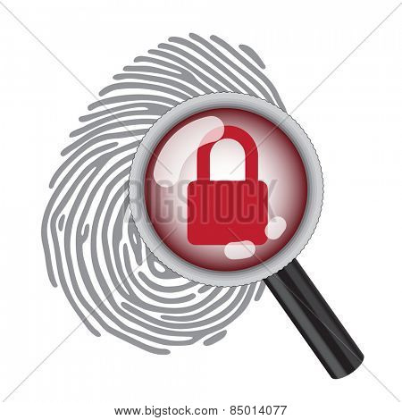 finger print with magnifying glass and lock