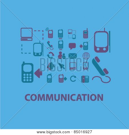 communication, connection isolated icons, signs, illustrations concept design set on background for mobile application, website, adverisement, vector