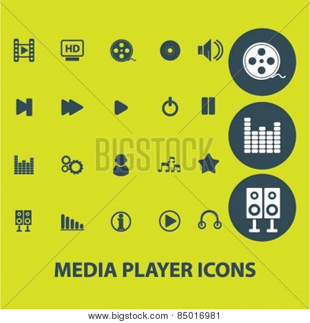 media player, music, audio isolated icons, signs, illustrations concept design set on background for mobile application, website, adverisement, vector