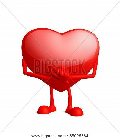 Illustration of 3d heart character with promise pose poster