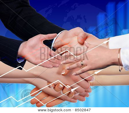 Handshake On An Abstract Background.