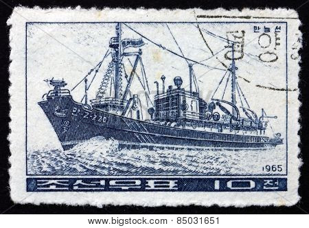 Postage Stamp North Korea 1965 Whaler, Fishing Boat