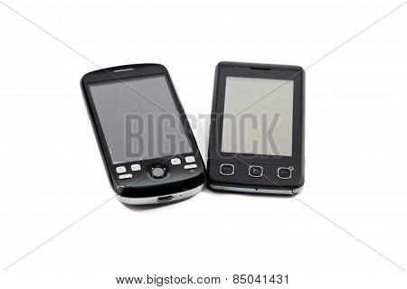 Different Black Smartphones on white background