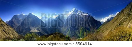 Beautiful mountain view of Everest Region, Sagarmatha National Park, Himalayas, Nepal