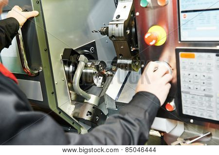 drilling hole or boring detail on metal cutting machine tool at manufacturing factory