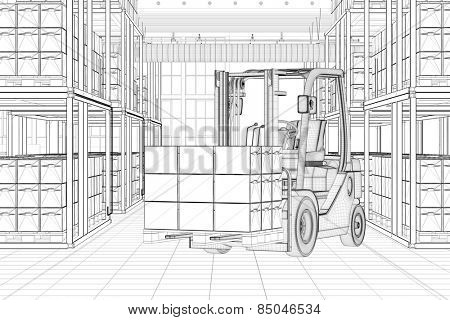 CAD line sketch of forklift in a full warehouse (3D Rendering)