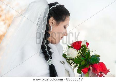 Wedding Bridal Veil And Flowers