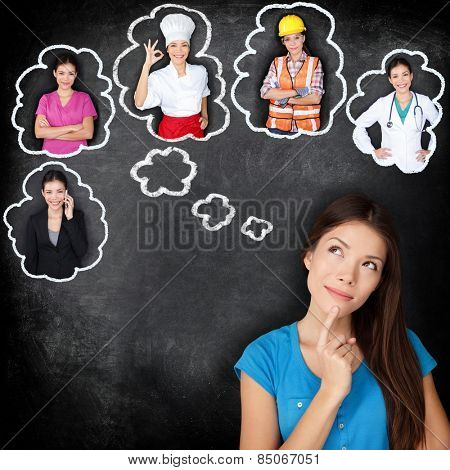 Career education choice options - student thinking of future education. Young Asian woman contemplating career options smiling looking up at thought bubbles on a blackboard with different professions