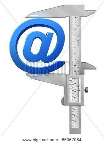 Vertical Caliper Measures Mail Symbol