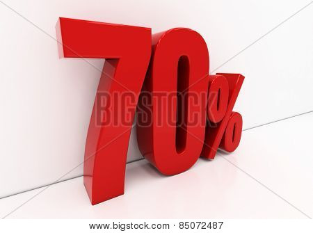 70 percent off. Discount 70. 3D illustration poster