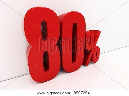 80 percent off. Discount 80. 3D illustration