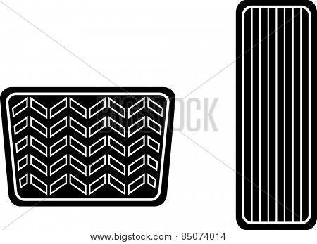 car accelerator and brake pedals symbol
