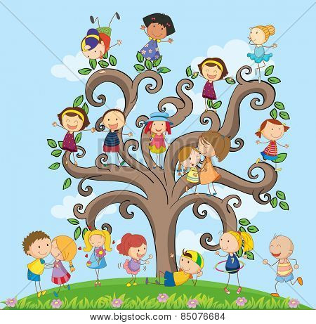 many children on the tree