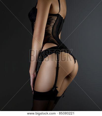 Sexy woman in black underwear