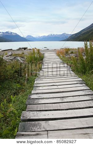 wooden path leading to Argentino lake, South Patagonia