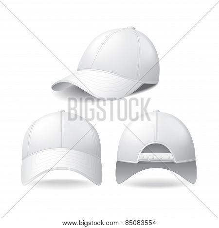 White Baseball Cap Isolated On White Vector