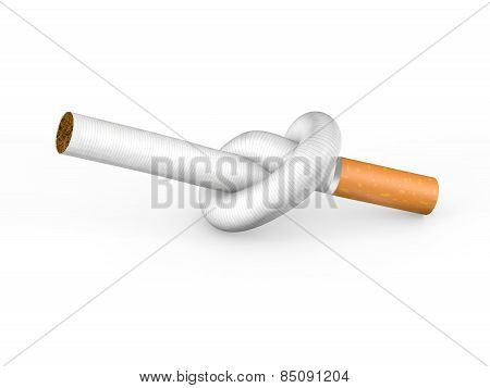 Knotted cigarette isolated on white