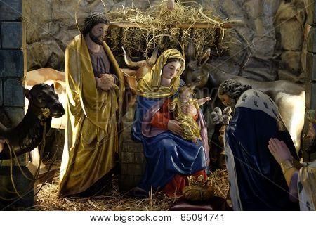 GRAZ, AUSTRIA - JANUARY 10, 2015: Nativity scene, creche, or crib, birth of Jesus in Parish Church of the Holy Blood in Graz, Styria, Austria on January 10, 2015.