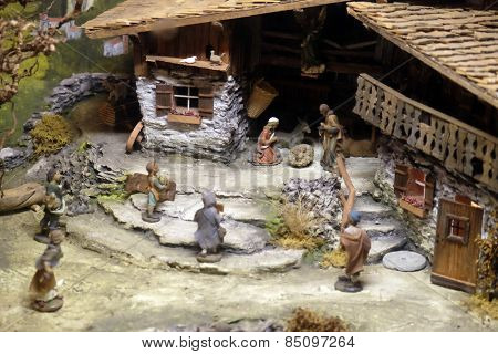 HALLEIN, AUSTRIA - DECEMBER 14: Nativity scene, creche or crib, is a depiction of the birth of Jesus, Hallein, Austria on December 14, 2014.